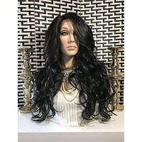 Loose Body Curls Human Hair Blend Multi Parting Lace Front Wig - Tajuna