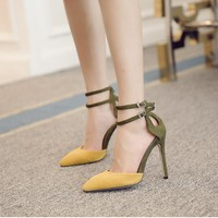 Pointed Toe Ankle Wraps High Stiletto Heels Sandals