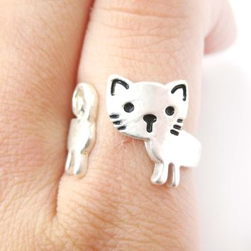 Kitty Cat Shaped Cartoon Animal Wrap Around Ring in Silver   DOTOLY