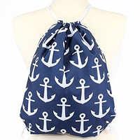 Anchor Drawstring Backpack Bag with Rope Shoulder Straps - 17-in (Navy)
