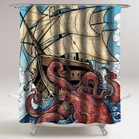 the octopus attack custom shower curtain decorative shower curtain size 36x72,48x72,60x72,66x72