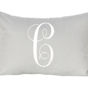Personalized Gift Monogrammed Pillow Cover Letter Pillow Solid Gray Pillow Grey Pillow Embroidered Initial Monogram 12 x 16 Baby Wedding