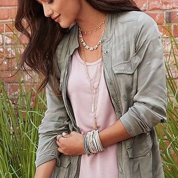 drapey anorak jacket in camo print | maurices