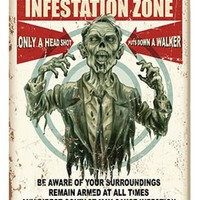 Zombie Warning Metal Sign