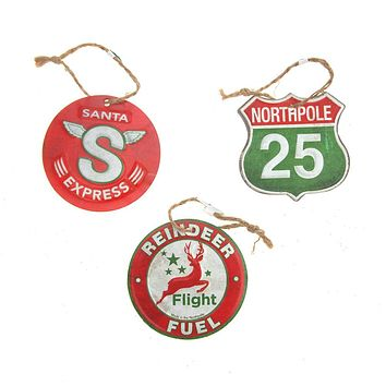 Vintage Style Hanging Metal Road Signs Christmas Tree Ornament, Red/Green, 3-1/4-Inch, 3-Piece