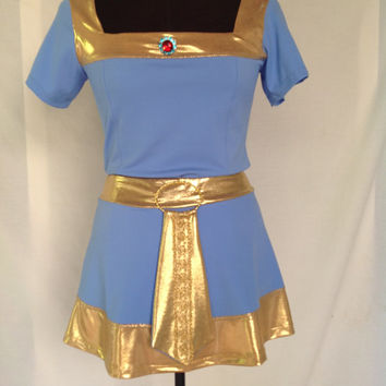 Blue Merida Inspired Running Costume with sleeves