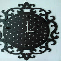 Black Baroque Wooden Clock with Studs and Spikes by WallsByStorm