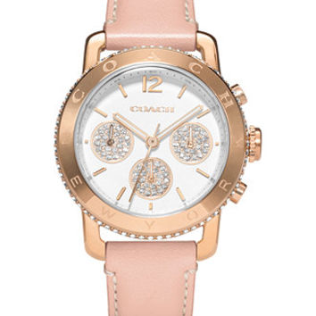COACH WOMEN'S LEGACY SPORT BREAST CANCER AWARENESS PINK LEATHER STRAP WATCH 36MM 14502003