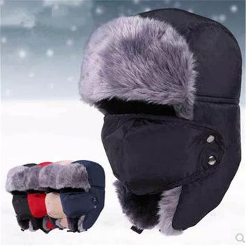 2015 New Winter fur hats Windproof Thick warm winter snow women cap Face Mask men's hat