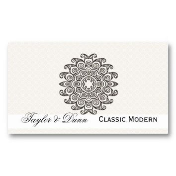 Elegant Mandala Classy Black and White Business Card Template from Zazzle.com
