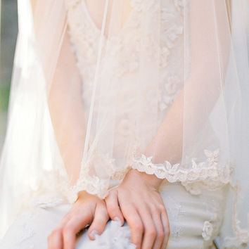 Ribbon Lace Cathedral Length Bridal Veil - Style 309