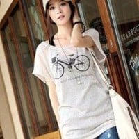 Causal Bicycle Print Short Sleeves Tee Top Black Racerback Tank Top Set
