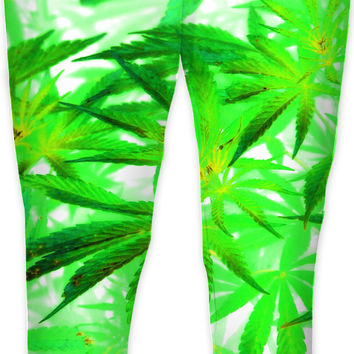 Trippy 420 joggers, marihujana leafs in light colors sweat pants, ganja jogging pants