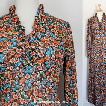 Vintage 70s Dress / Granny Dress / Polyester Maxi Dress / Retro Boho Hippie / Fall Winter Fashion