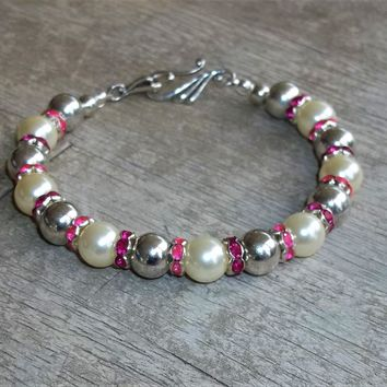 """Hot Pink & Magenta Crystal Accented Pearl and Silver Beaded XXL Hook Clasp Bracelet, Gift for Mom, 9"""" Plus Size Bracelet, Bridal Bracelet"""
