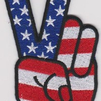 Peace Sign Iron-On Patch Fingers