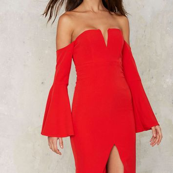 Bardot Heat Wave Off-the-Shoulder Midi Dress