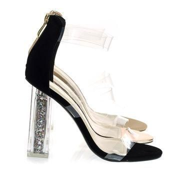 Alora1 Black By X2B, Clear See Through Perspex Block Heel Sandal w Glitter Plexiglas