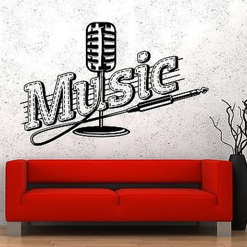 Wall Vinyl Music Microphone Song Singing Guaranteed Quality Decal (z3555)