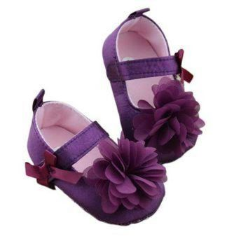 DCK7YE Baby Girls Purple Shoes Bowknot Flower Sole Walking Shoes