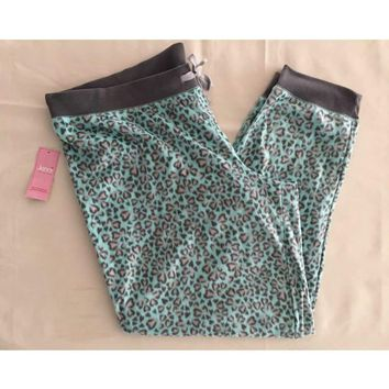 Jenni by Jennifer Moore Heart Animal Fleece Pajama Pants 461028 Green XXL