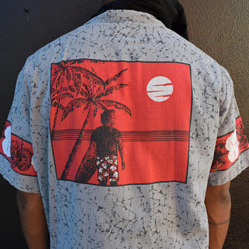 Vintage Hawaiian Surf Shirt, 80s Button Up Surfer Shirt, Men's Short Sleeve Tropical Hawaii Top, Gray with Black Splatter Paint, Mens XL