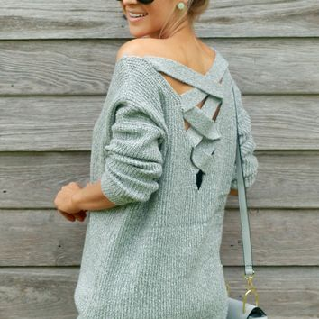 Criss Cross Sweater Grey