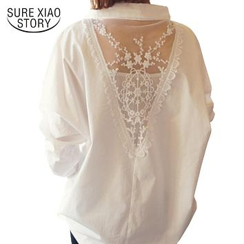 new women tops long sleeve blouses V collar white shirt female lace shirts women clothing solid casual blouse D95 30
