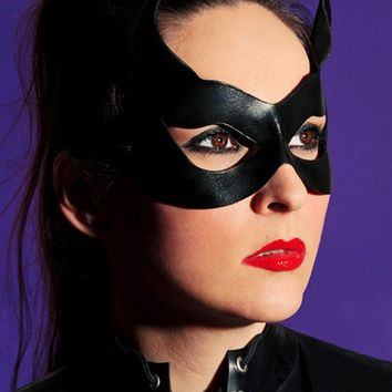 Black Catwoman Leather Mask with Little Cat Ears Masquerade Fetish Comic Con Cosplay Superhero Halloween Costume