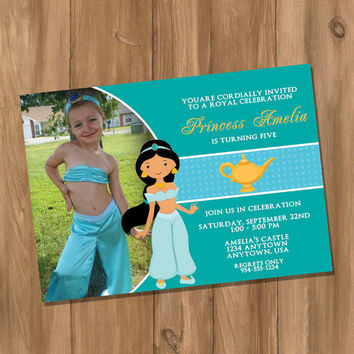 Aladdin / Princess Jasmine Inspired Birthday Party Invitation with Photo (Digital - DIY)