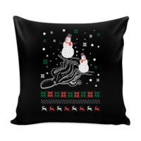 Cute Octopus Snowman Skiing Funny Festive Ugly Christmas Holiday Sweater Decorative Throw Pillow Cases Cover(4 Colors)