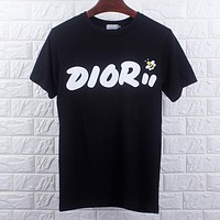 DIOR Summer Trending Women Men Casual Letter Bee Print Round Collar T-Shirt Top Black