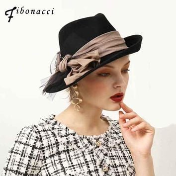 Fedoras Wool Felt Hat Female Flanging Fine Linen Fabric Big Bow Fedora Hats for Women