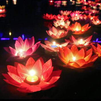 10pcs Romantic lotus lamps,wishing lantern water floating candle light,birthday wedding party decoration,Free shipping.