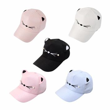 ping Summer Cartoon Kawaii Cat Print Visor Caps Hat Adult Woman Outdoor Sports Adjustable Sun Visor Caps 5 Colors