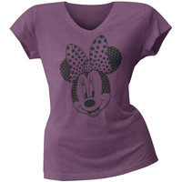 Minnie Mouse - Hearts Juniors V-Neck T-Shirt