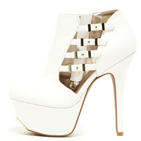 (anh) White booties four buckles platform