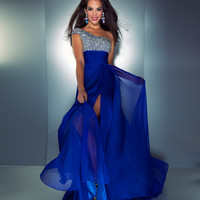 Mac Duggal 2013 Prom Dresses - Royal Blue One Shoulder Gown with Embellished Top
