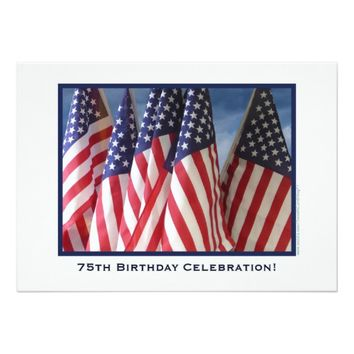 75th Birthday Celebration Invitation, Flags Card