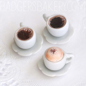 Playscale coffee cup - cappuccino or black coffee miniature - roombox, diorama, dollhouse miniature, 1/6 BJD doll prop