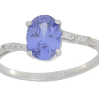 1.5 Ct Tanzanite & Diamond Oval Ring .925 Sterling Silver Rhodium Finish