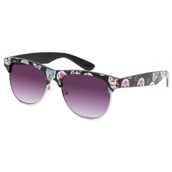 Full Tilt Sugar Skull Club Sunglasses Black One Size For Women 26083610001