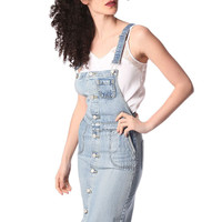 Denim midi pinafore dress with buttons