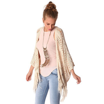 Beige crochet cardigan with fringing