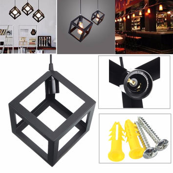 Hot Sale E27 Loft Industrial Retro Vintage Iron Ceiling Lamp Shade Edison Square Pendant Light Chandelier Fixture 110-220V