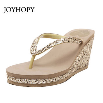 JOYHOPY Bling Wedge Platform Shoes Woman Slipper Women High Heels Beach Sandals Summer Ladies Thick Bottom Flip Flops WS1638