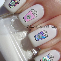 Galaxy Coffe Nail Decals (1 sheet of 12 decals)