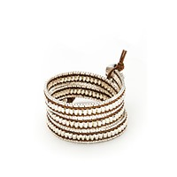 Wrap Bracelet - Brown Leather Cord | Silver Chain | Metal Beads