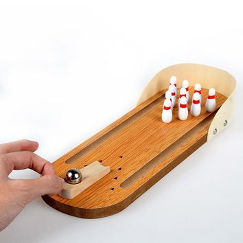 Desktop Bowling Toy Mini Desktop Bowling Game Set Wooden Bowling AlleyTen Metal Pin Ball Desk