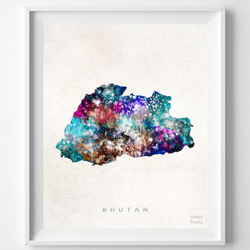 Bhutan Map, Asia, Print, Thimphu, Watercolor, Home Town, Poster, Country, Wall Decor, Painting, World, Living Room, Bed Room, Dorm, Gift